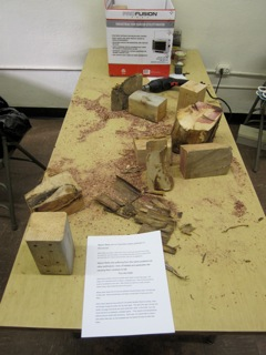 Melissa's table where kids came & made Mason bee nests and got handout on Mason bees