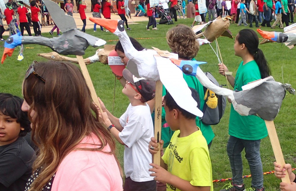 Artist, Gusavo Boato worked with students to create the cranes